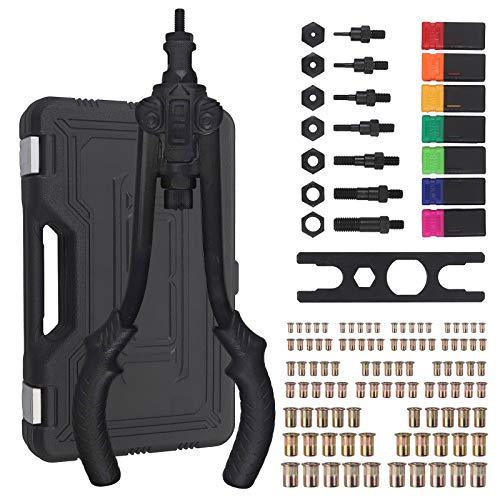 """Proster Kit 13"""" Rivettatrice con 100Pz Rivetti M3/M4/M5/M6/M8/M10/M12 Rivettatrice Manuale Resistente Pistola per Rivetti e Dadi a Doppia Impugnatura Antiscivola per Riparazione Auto"""