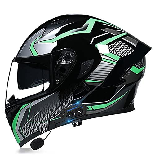 NS Casco Moto Bluetooth Flip Motocross Casco Integral para Adultos Hombres Mujeres con Visera Doble Antivaho Moto Walkie Integrado Modular Casco Locomotora (Color : V, Size : 2XL)