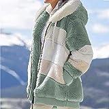 Yagerod Abrigo Acolchado de Lana de Cordero en Contraste, Abrigo Acolchado de Lana de Cordero sintético en Contraste para Mujer, Chaqueta con Cremallera cálida de Invierno S-5XL Green XXXL