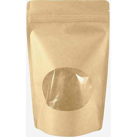100pcs,Stand Up Kraft Paper Al Foil Ziplock Bags tea Package Pouches Resealable