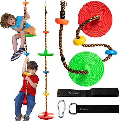 Tree Climbing Rope swing with 2 Disc Swings Seats and Platforms, Playground Swingset Accessories...