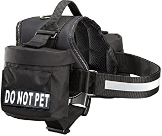 Doggie Stylz Do Not Pet Dog Harness Vest with Removable Saddle Bags and Reflective Patches