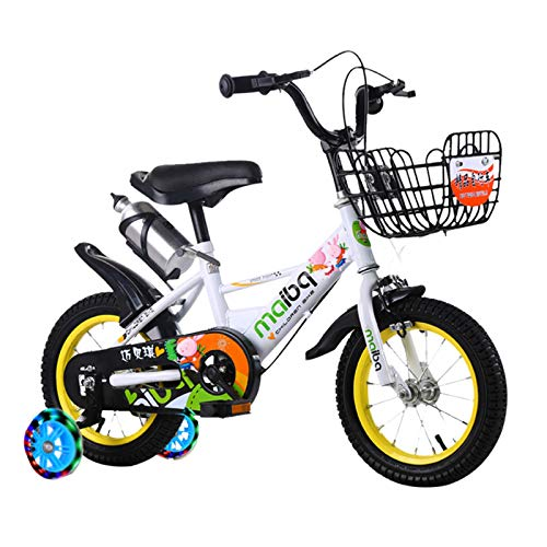 Kids Bike Boys And Girls Ages 3-8 Years, Removable Training Wheels,Toddler Cycle for Early Rider, Child Pedal Bike,White,14in
