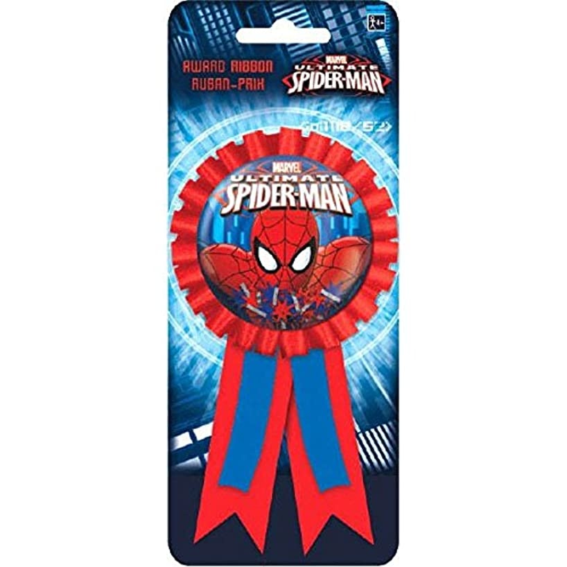 Spidey-Cool Spider-Man Birthday Party Award Ribbon Accessory, Red/Blue , 5 3/4
