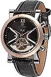 ZFAYFMA Reloj automático de Hombres Correa de Cuero Multifuncional Moda Moda mecánica mecánica, Impermeable Steampunk Movimiento de Acero Inoxidable Rose Gold