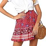 Faldas Cortas Vintage para Mujer Falda Plisada Boho Informal con Volantes Mini Falda con Fajas Falda De Playa De Vacaciones De Verano