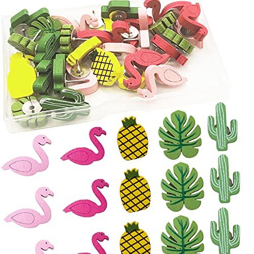 60 Alfileres de Madera Cactus Tachuela de Pulgar Flamenco Piña Hoja De Palma Chinchetas Lindas Decorativas para Pared de Fotos, Mapas, Tablón de Anuncios o Tablones de Corcho