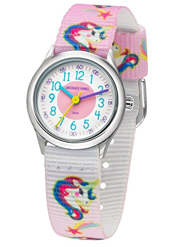 JACQUES FAREL Kinder-Armbanduhr Mädchen Einhorn Analog Quarz Metall Textilband HCC 042