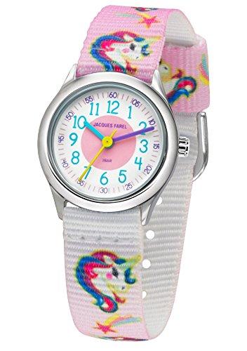 Jacques Farel–Reloj de pulsera infantil para niña Unicornio analógico de cuarzo metal textil banda HCC 042