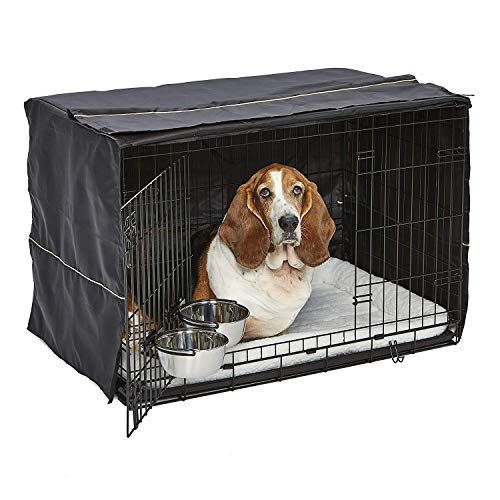 iCrate Dog Crate Starter Kit | 36-Inch Dog Crate Kit Ideal for Medium/Large Dogs (weighing 41 – 70 Pounds) || Includes Dog Crate, Pet Bed, 2 Dog Bowls & Dog Crate Cover