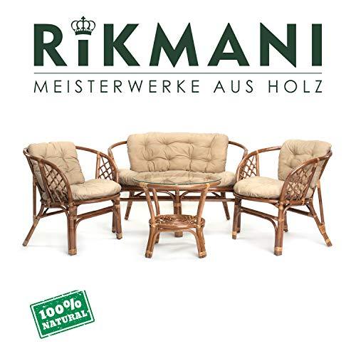 Rattan Gartenmöbel Set - Balkon Möbel - Lounge Möbel Terrasse - Ragnarök Gartenmöbel - Tisch Set - Balkonmöbel Set mit Couch (Hellbraun - Beige)
