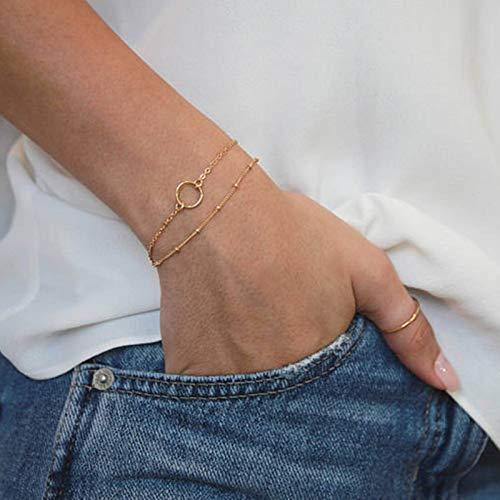 TseenYi Pulsera con colgante de círculo abierto de oro en capas, cadena de mano, elegante pulsera de novia, joyería para mujeres y niñas