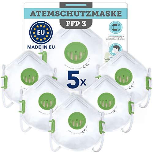 Natureflow 5 Stück CE-zertifizierte Masken (Filtering Face Piece 3) – Made in EU nach europäischen Standards
