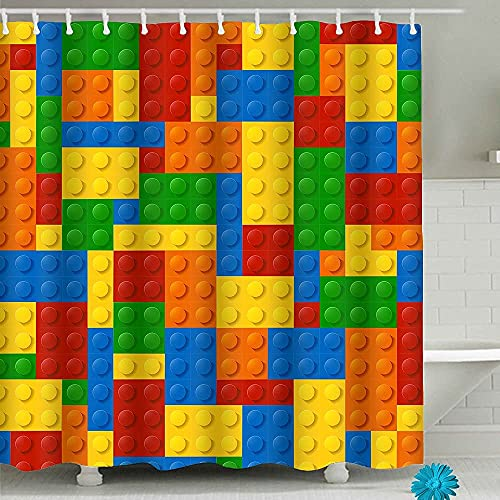Colorful Fabric Kids Shower Curtains,Funny Bathroom Shower Curtain with 12 Hooks (Lego, 71'' x 71'')