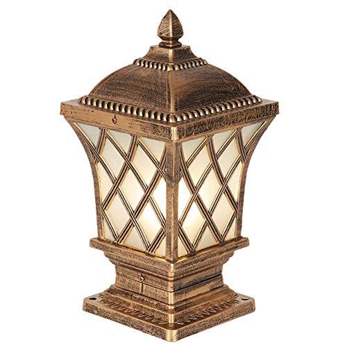 Außenleuchten, Retro Bronze Farbe Antike Säulen Lampe, IP44 Außenbeleuchtung Pollerleuchten, E27 Aluminiumdruckguss Glasschirm Außenwiese Säulenleuchte, Pfad Außenleuchte, Poller H57CM