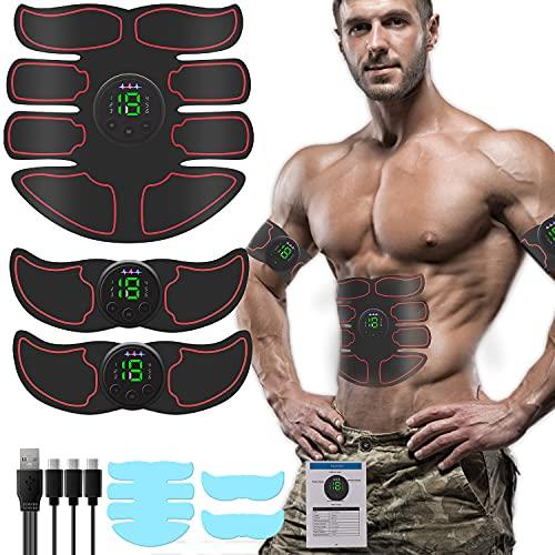 ALECPEA EMS Muskelstimulator, Bauchmuskeltrainer,USB-Wiederaufladbarer Muskelstimulator für Herren Damen, Muskeln aufbauen,Tragbarer Muskel Trainer mit 6 Modi & 19 Intensitäten