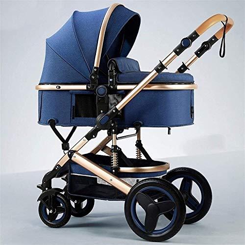 LOXZJYG Cochecito de Cochecito Ligero con Capacidad de Descarga de Cuatro Ruedas y arnés de Cinco Puntos, Carro de bebé con Titular (Color : Azul)
