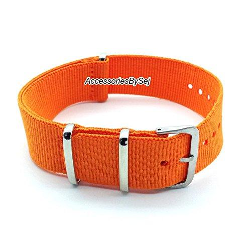 AccessoriesBySej NATO G10 Strap Militär Nylon Uhrenarmband Armband Watch Strap - Verschiedenen Größen 18mm, 20mm, 22mm, 24mm - Verfügt über Luxuriöse Geschenktüte TM (Orange, 22mm)