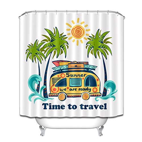 Palms Sun Summer Bus Reise-Duschvorhang-Set, wasserdicht, 183 x 183 cm