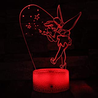 Night Light 3D Optical Illusion Night Light - 7 LED Color Changing Lamp - Soft Light Safe for Kids - Solution for s - Tinker Bell Home Decor