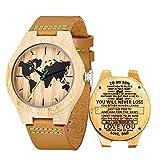 Reloj de Madera de Cuero, Relojes de brújula de bambú Hechos a Mano MUJUZE, Relojes...