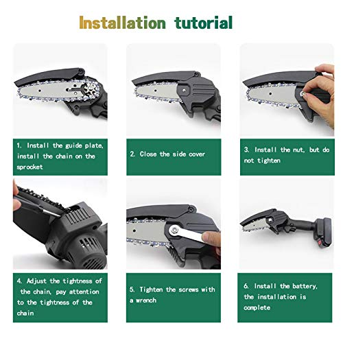 DAANT Chain Saw Chains, for 4 Inch Mini Cordless Handheld Electric Chainsaw, Shape and Wear Resistance, Smooth Cutting, Easy to Install (4 Inch)