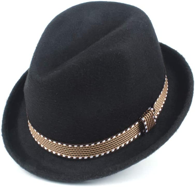 LIRRUI Fashion Waistband Hat Elegant Jazz Hat Wool Polyester Fedora Hat Men Women Autumn Winter Sun Hat Fashion Hat (Color : Gray, Size : 58CM)