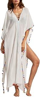 Vestido Largo de Playa Mujer Bohemia Kaftan Maxi Pareo de Algodón Verano Poncho Tuunic Etnico Foral Bikini Cover Up Sarong...