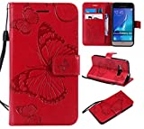 Feyyxi Leather Wallet Case for Samsung Galaxy J1 2016 Case with Card Holder Side Pocket Kickstand, Leather Flip Case Magnetic Cover for Galaxy Express 3 / Luna/Amp 2 - FEKT40448 Red