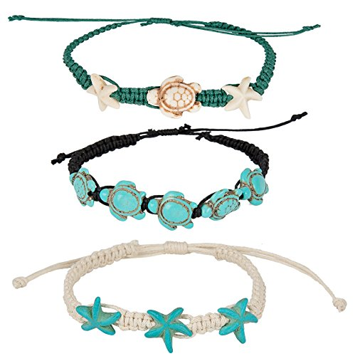 SPUNKYsoul Turtle Starfish Howlite Bracelet or Anklet Set Beach Collection (Turtle Starfish 3 Pack)