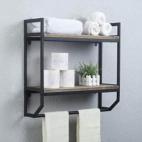 2-Tier Metal Industrial 236 Bathroom Shelves Wall MountedRustic Wall Shelf Over ToiletTowel Rack with Towel BarUtility Storage Shelf Rack Floating Shelves Towel HolderBlack Brush Silver