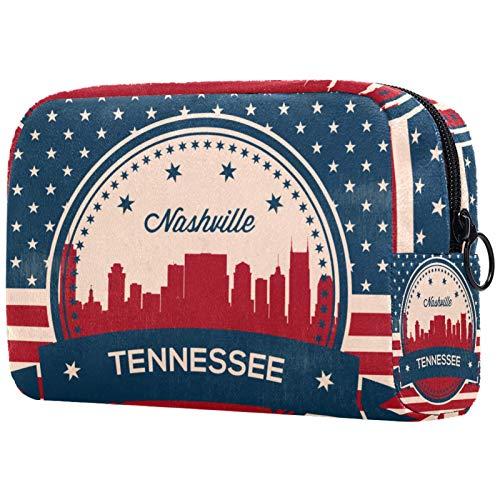 Große Make-up-Tasche Reißverschlusstasche Reise Kosmetik-Organizer für Frauen und Mädchen - Tennessee State Nashville Vintage American Flag