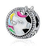 XingYue Jewelry Abalorio de unicornio de plata de ley 925 con esmalte colorido, diseño calado de animales, para pulsera de cadena de serpiente (dijes de unicornio)