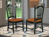 East West Furniture DOC-BCH-W Dining Room Chairs, Medium, Black and Cherry