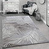 Alfombra Diseño Moderna Salón Alfombras 3D Estampado Palmeras Gris Beige Crema, tamaño:80x150 cm
