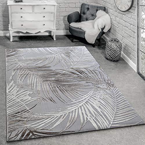 Paco Home Designer Teppich Modern Wohnzimmer Teppiche 3D Palmen Muster In Grau Beige Creme, Grösse:120x170 cm