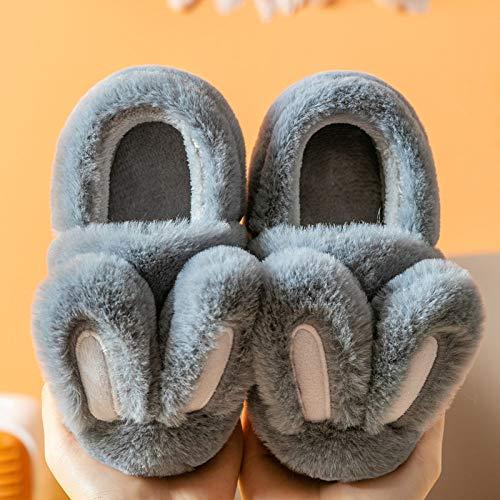 Zapatillas Niños Cálido Invierno Suela Blanda Conejo De Dibujos Animados Gris Zapatilla Piel Cálida Lindos Toboganes De Algodón Zapatos De Piso para Interiores Niños Divertidos Antideslizantes