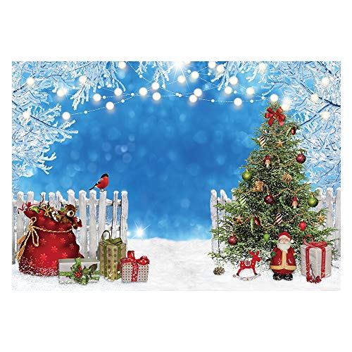 Funnytree Winter Christmas Photography Backdrop Merry Xmas Snowy Blue Wonderland Background Santa Gifts Trees Baby Kids Party Decorations Portrait Cake Table Banner Photo Studio Props 7x5ft