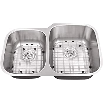 Cahaba CA122SBD30 23-1//4 x 20-7//8 18 Gauge Stainless Steel Single Bowl D-Shape Kitchen Sink with Grid Set and Drain Assembly