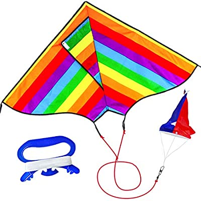 Large Rainbow Kites for children Easy to Fly for Great Kite for Kids and Adults