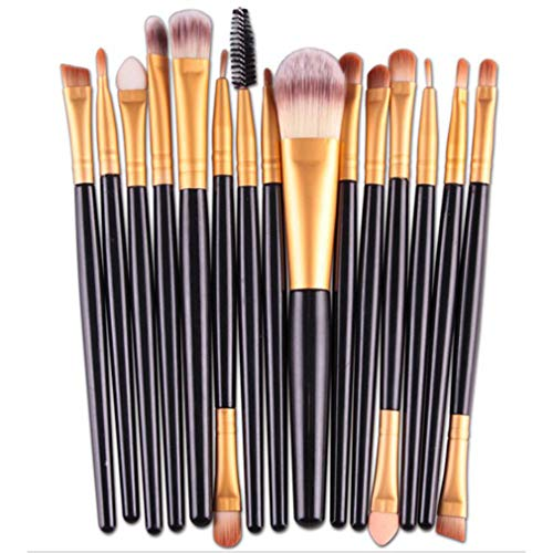 Mvude Pinceaux de Maquillage pour Les Yeux Soft Synthetic Hairs Professional 15 Pieces Eyeshadow Makeup Brush Set,Tube d'or pôle Noir