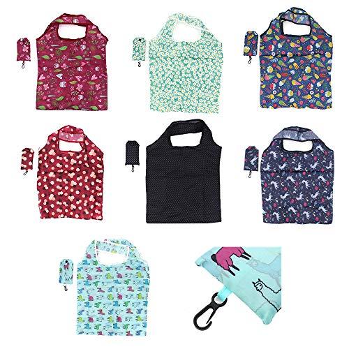 TAECOOOL 7 piezas bolsa de mano ecológica reutilizable plegable bolsa de la compra, se puede utilizar para comprar verduras, viajes al aire libre, camping y senderismo