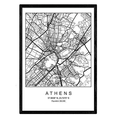 Nacnic Blade Athen Stadtplan nordischen Stil schwarz und weiß. A3 Größe Plakat Das Bedruckte Papier Keine 250 gr. Gemälde, Drucke und Poster für Wohnzimmer und Schlafzimmer