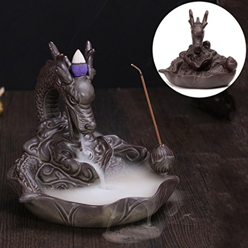 KING DO WAY Rückfluss Räuchergefäß Räucherstäbchenhalter Dragon Keramik Luftbefeuchter Dragon Smoke Brenner ''Dragon Lotus Teich'' Aromatherapie Räucherstäbchen (16 x 16 x 15 cm)