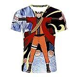 Aatensou 3D Print Anime Naruto Shippuden Camiseta de manga corta para chico de dibujos animados Cool Kakashi Camiseta de verano casual de manga corta (K6,L)