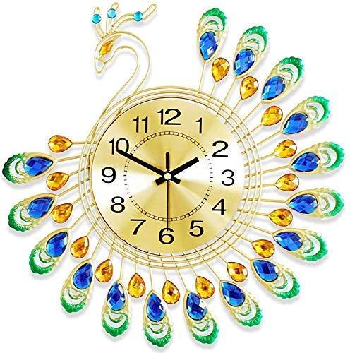 FTFTO Living Equipment Wanduhren Dekorative DIY Crafts Peacock Clock 3D-Uhr Metall für Dekoration Office Home Living Ornamente 38X38Cm