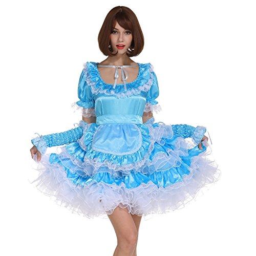 GOceBaby Sissy Zimmermädchen Hellblauer Abschließbares Kleid Geschwollene Crossdress (XL)