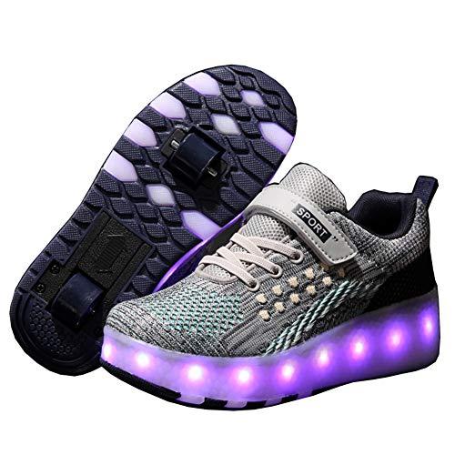 Unisex-Kinder LED Rollschuhe mit Rollen 7 Farben LED Lichter Blinken Rollenschuhe USB Aufladbare Automatisch Räder Skateboardschuhe Outdoor Gymnastik Sneaker für Mädchen Jungen