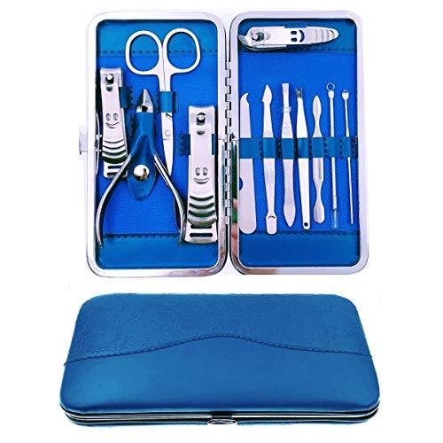 JZK 12 x RVS manicure set nagelknipper set met lederen tas, reisbeauty kit cadeau voor dames en heren (blauw)