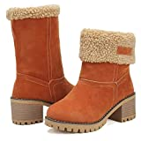 Mostrin Women's Winter Snow Boots Suede Chunky Block Heels Warm Fur Mid-Calf Ankle Booties Orange Size 5.5